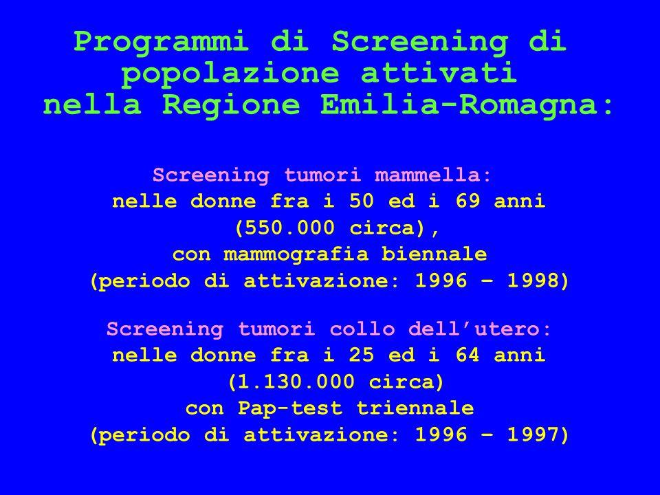 Programmi di Screening di popolazione attivati nella Regione Emilia-Romagna: Screening tumori mammella: nelle donne fra i 50 ed i 69 anni (550.000 circa), con mammografia biennale (periodo di attivazione: 1996 – 1998) Screening tumori collo dellutero: nelle donne fra i 25 ed i 64 anni (1.130.000 circa) con Pap-test triennale (periodo di attivazione: 1996 – 1997)