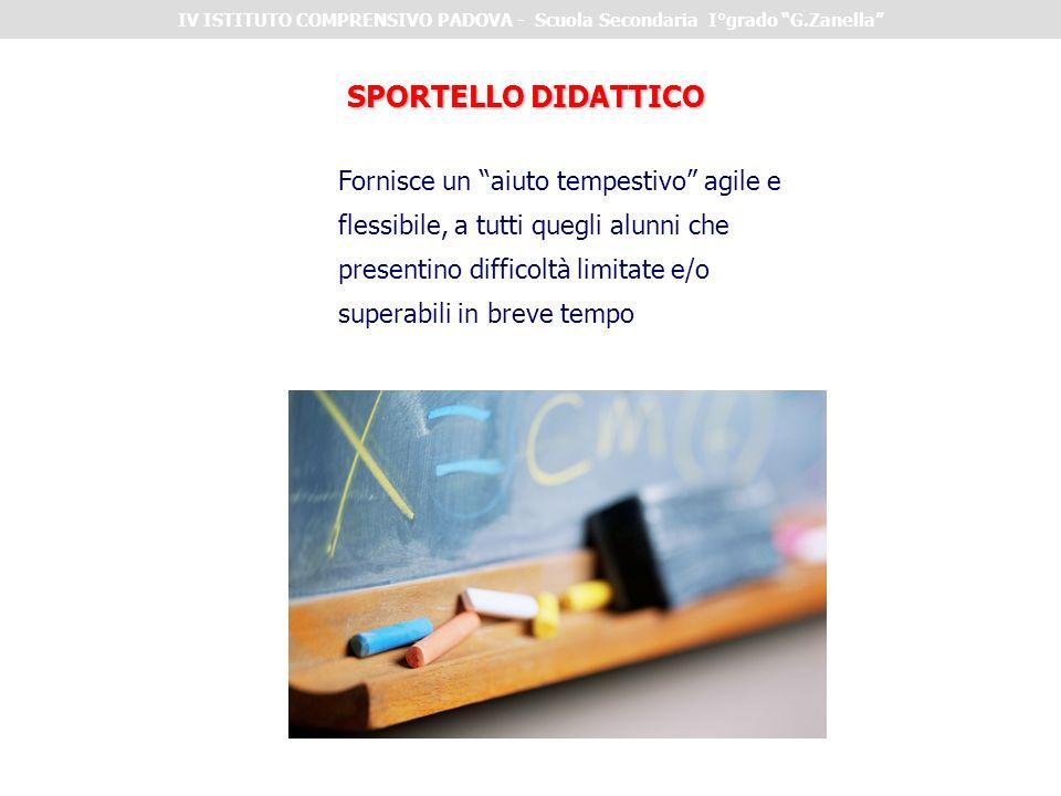 SPORTELLO DIDATTICO Fornisce un aiuto tempestivo agile e flessibile, a tutti quegli alunni che presentino difficoltà limitate e/o superabili in breve tempo IV ISTITUTO COMPRENSIVO PADOVA - Scuola Secondaria I°grado G.Zanella