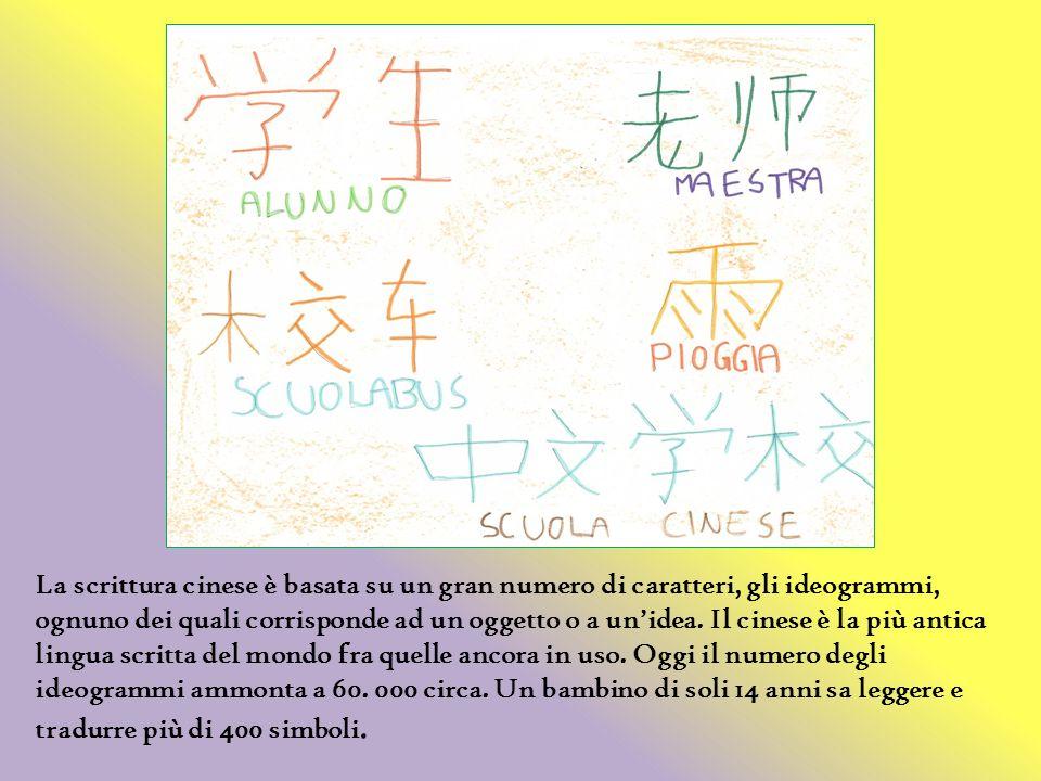 La scrittura cinese è basata su un gran numero di caratteri, gli ideogrammi, ognuno dei quali corrisponde ad un oggetto o a unidea. Il cinese è la più