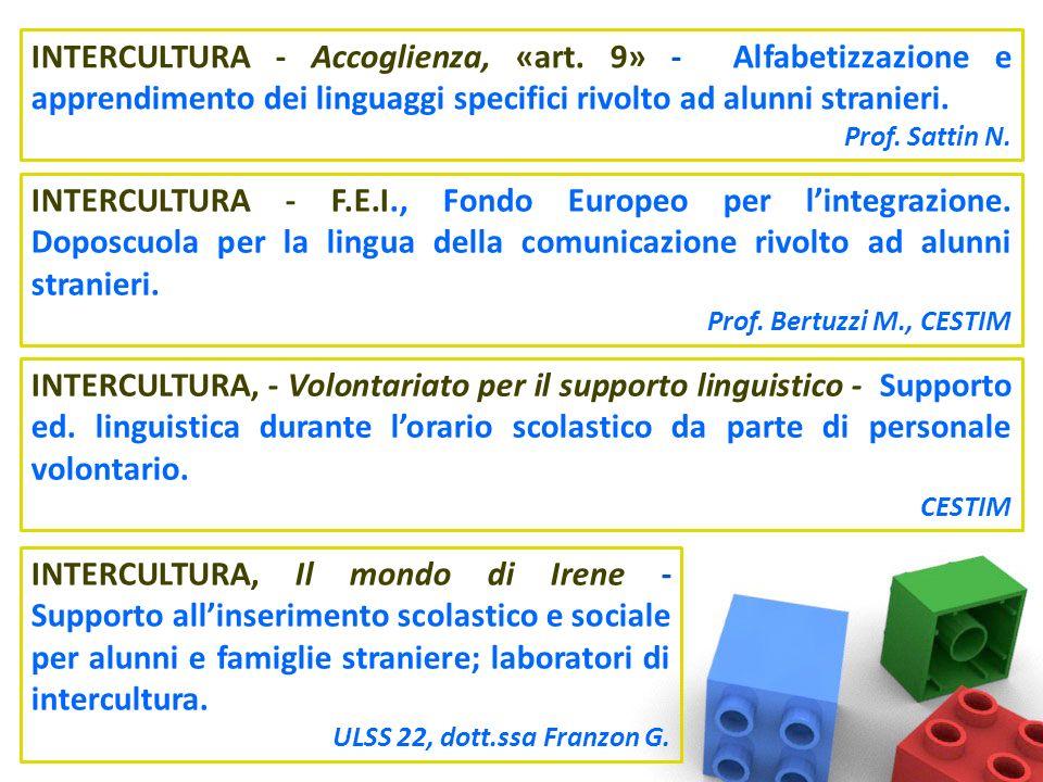 INTERCULTURA - Accoglienza, «art. 9» - Alfabetizzazione e apprendimento dei linguaggi specifici rivolto ad alunni stranieri. Prof. Sattin N. INTERCULT
