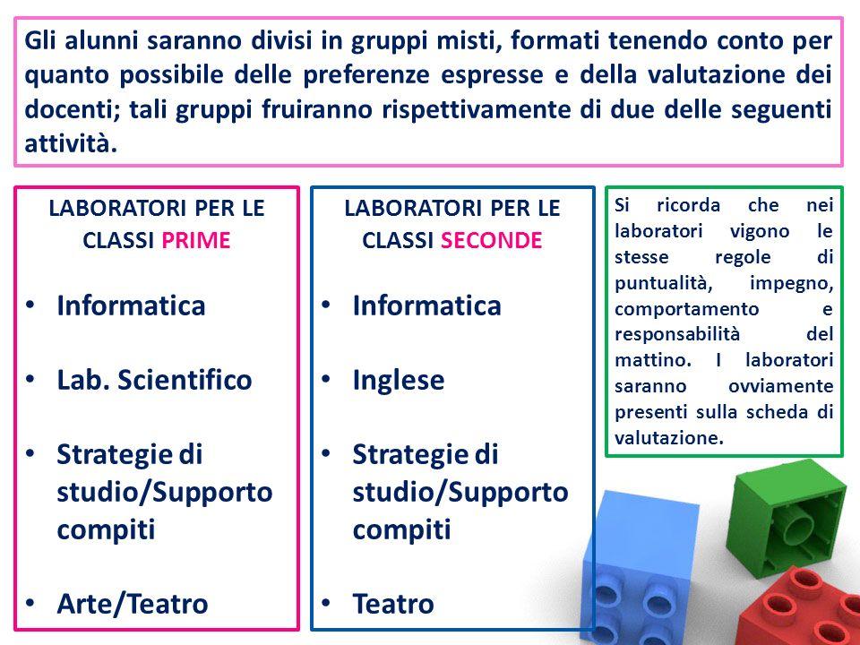 Gli alunni saranno divisi in gruppi misti, formati tenendo conto per quanto possibile delle preferenze espresse e della valutazione dei docenti; tali gruppi fruiranno rispettivamente di due delle seguenti attività.