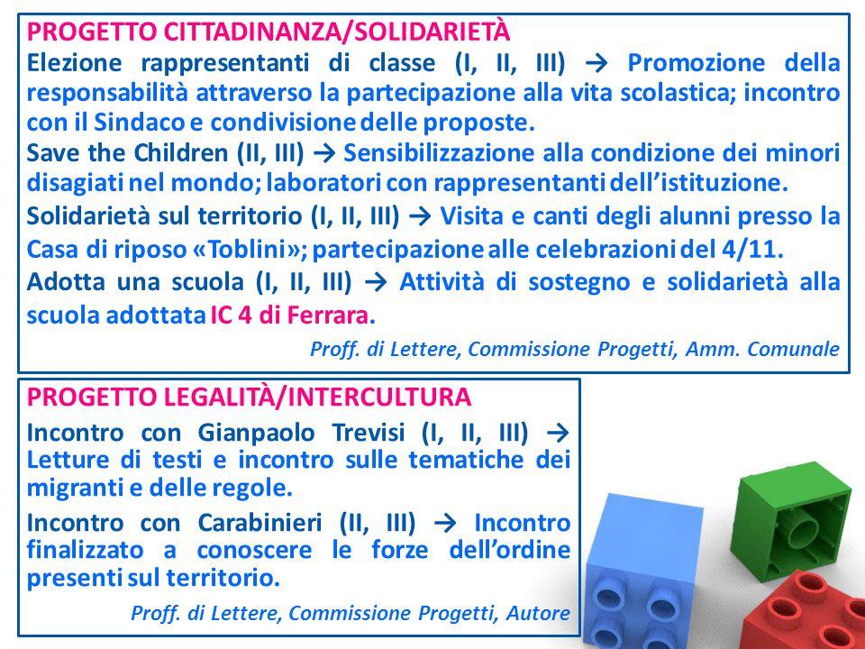 PROGETTO CITTADINANZA/SOLIDARIETÀ Elezione rappresentanti di classe (I, II, III) Promozione della responsabilità attraverso la partecipazione alla vita scolastica; incontro con il Sindaco e condivisione delle proposte.