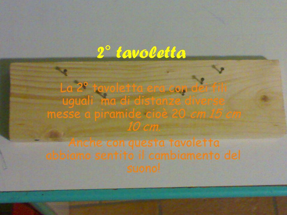 2° tavoletta La 2° tavoletta era con dei fili uguali ma di distanze diverse messe a piramide cioè 20 cm 15 cm 10 cm. Anche con questa tavoletta abbiam