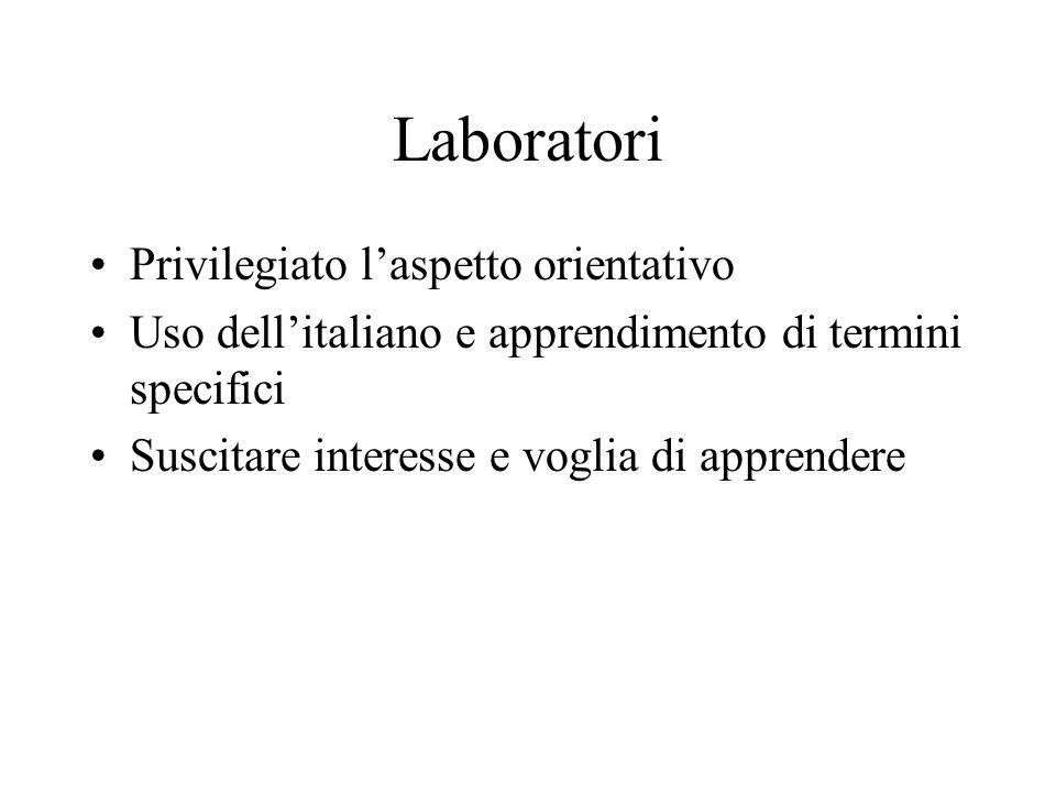 Laboratori Privilegiato laspetto orientativo Uso dellitaliano e apprendimento di termini specifici Suscitare interesse e voglia di apprendere