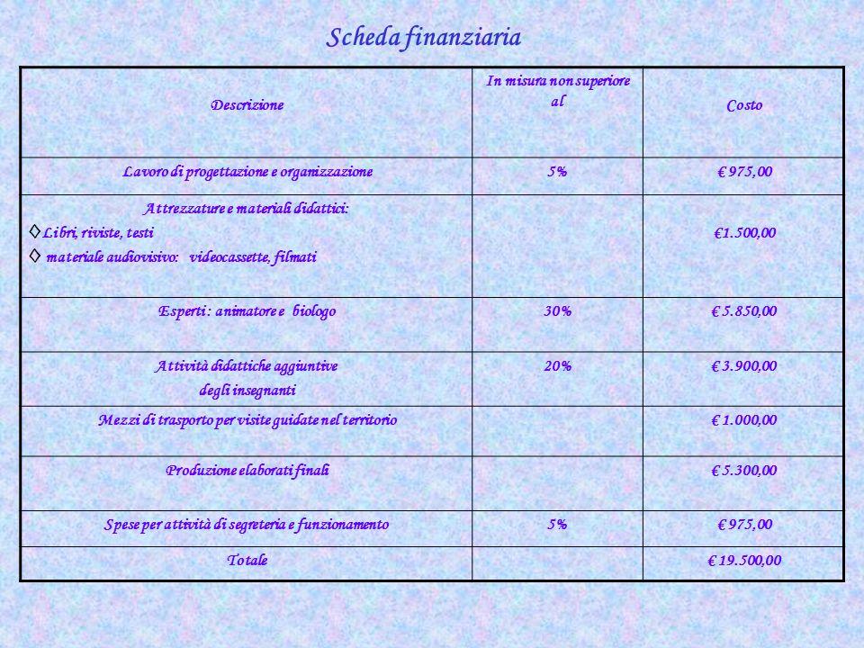 Scheda finanziaria Descrizione In misura non superiore al Costo Lavoro di progettazione e organizzazione5% 975,00 Attrezzature e materiali didattici:
