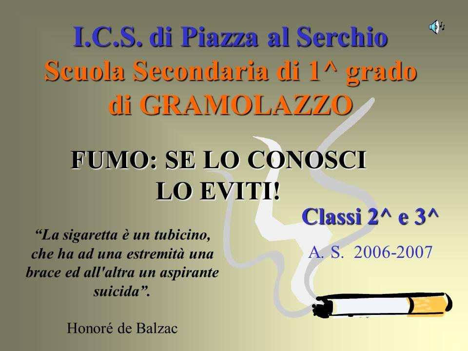 I.C.S. di Piazza al Serchio Scuola Secondaria di 1^ grado di GRAMOLAZZO Classi 2^ e 3^ A. S. 2006-2007 FUMO: SE LO CONOSCI LO EVITI! La sigaretta è un
