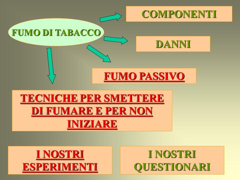 COMPONENTI FUMO PASSIVO FUMO PASSIVO DANNI TECNICHE PER SMETTERE DI FUMARE E PER NON INIZIARE TECNICHE PER SMETTERE DI FUMARE E PER NON INIZIARE FUMO