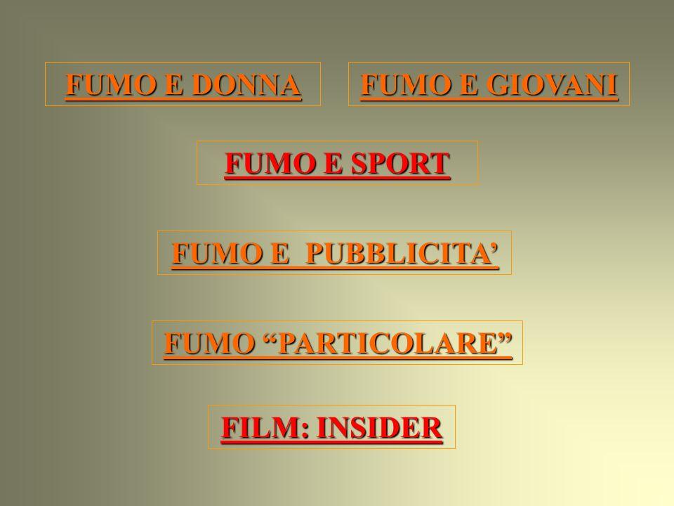 FUMO E DONNA FUMO E DONNA FUMO E SPORT FUMO E SPORT FUMO E PUBBLICITA FUMO E PUBBLICITA FUMO E GIOVANI FUMO E GIOVANI FILM: INSIDER FILM: INSIDER FUMO PARTICOLARE FUMO PARTICOLARE