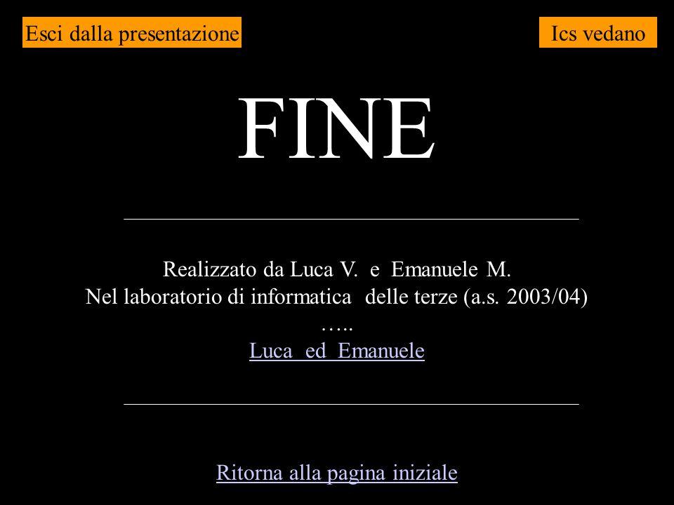 Ics vedano FINE Realizzato da Luca V. e Emanuele M. Nel laboratorio di informatica delle terze (a.s. 2003/04) ….. Luca ed Emanuele Esci dalla presenta