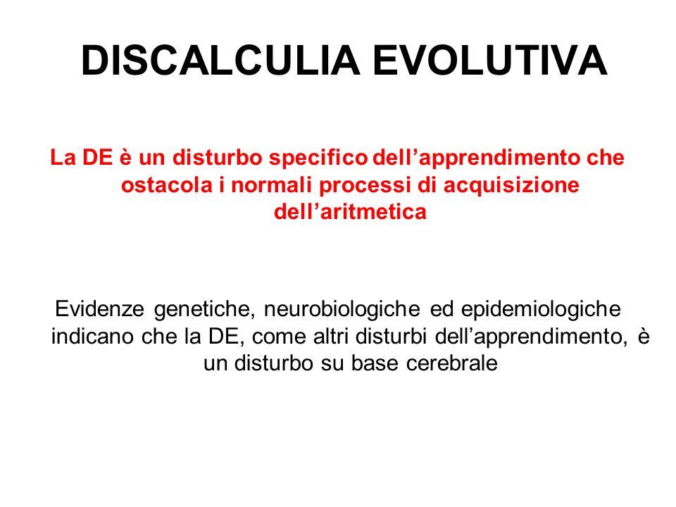 DISCALCULIA EVOLUTIVA La DE è un disturbo specifico dellapprendimento che ostacola i normali processi di acquisizione dellaritmetica Evidenze genetiche, neurobiologiche ed epidemiologiche indicano che la DE, come altri disturbi dellapprendimento, è un disturbo su base cerebrale