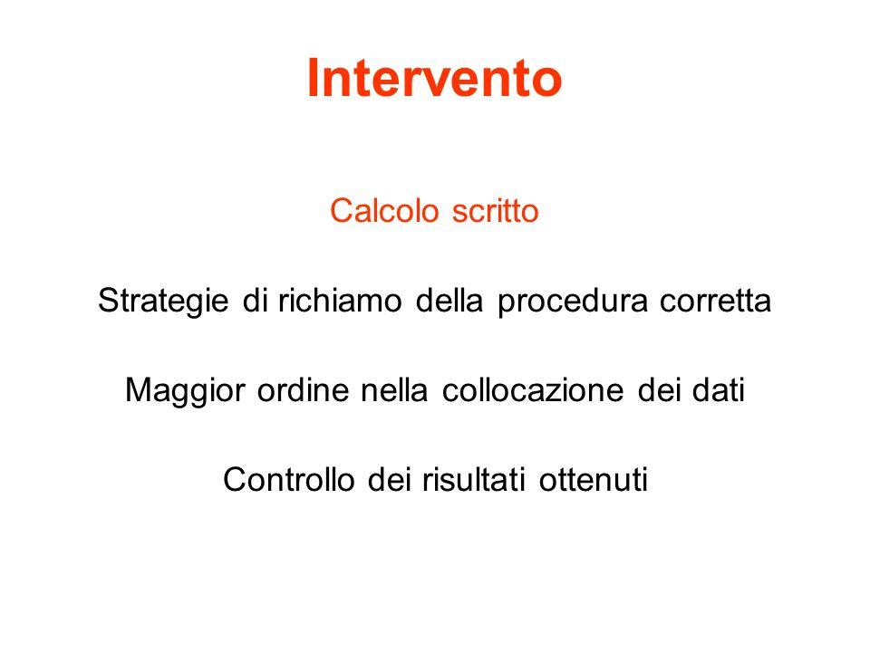 Intervento Calcolo scritto Strategie di richiamo della procedura corretta Maggior ordine nella collocazione dei dati Controllo dei risultati ottenuti