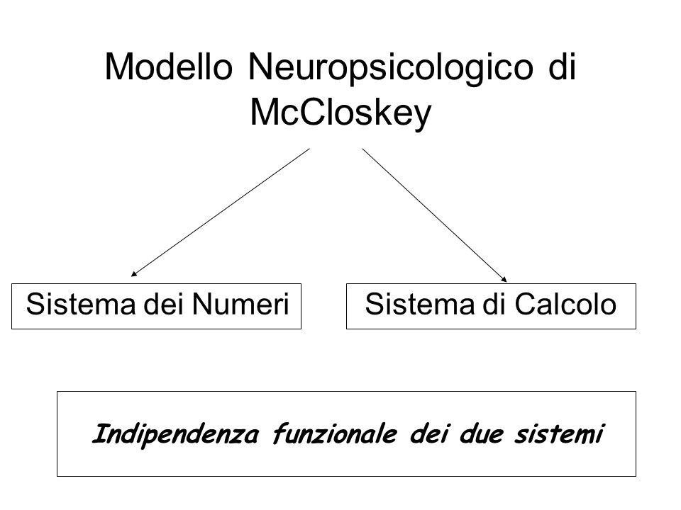 Modello Neuropsicologico di McCloskey Sistema dei Numeri Sistema di Calcolo Indipendenza funzionale dei due sistemi