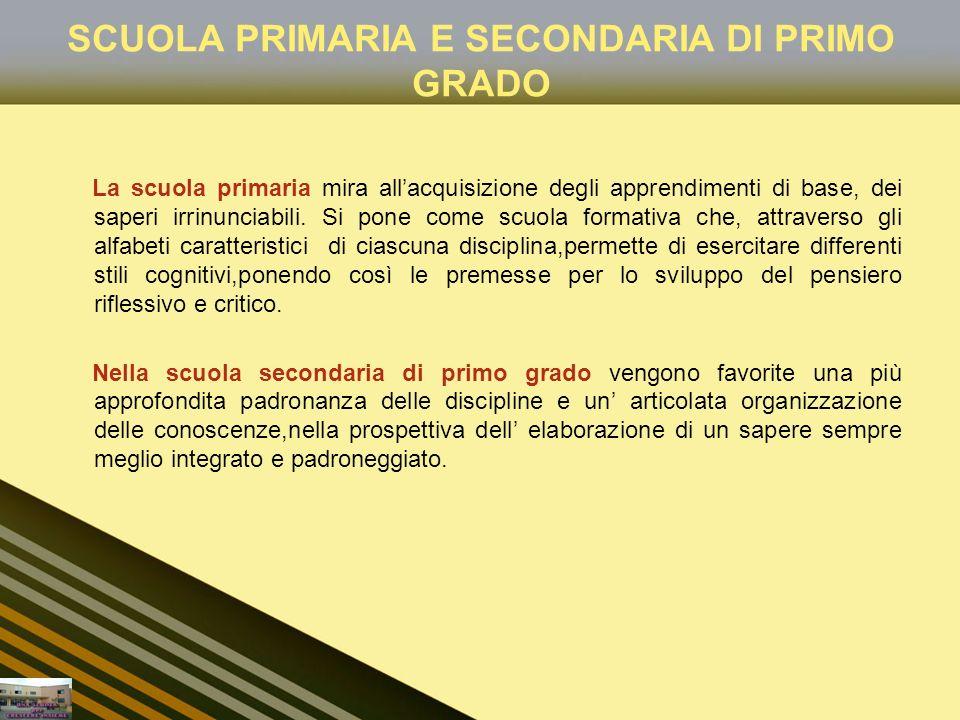 SCUOLA PRIMARIA E SECONDARIA DI PRIMO GRADO La scuola primaria mira allacquisizione degli apprendimenti di base, dei saperi irrinunciabili. Si pone co