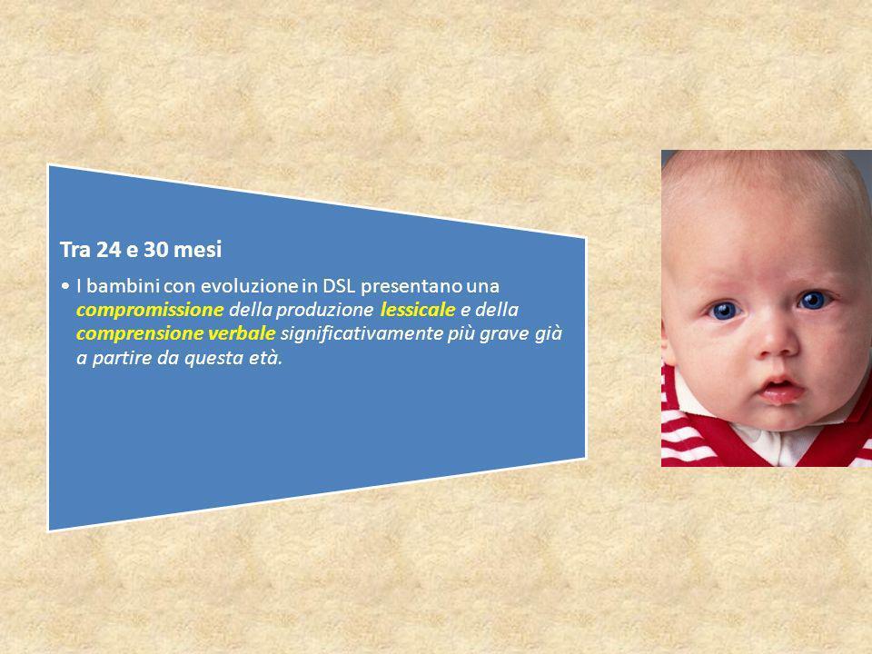 Tra 24 e 30 mesi I bambini con evoluzione in DSL presentano una compromissione della produzione lessicale e della comprensione verbale significativamente più grave già a partire da questa età.