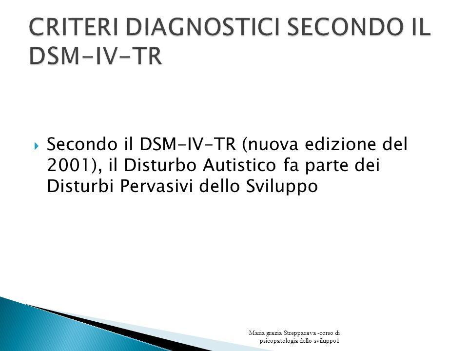 Secondo il DSM-IV-TR (nuova edizione del 2001), il Disturbo Autistico fa parte dei Disturbi Pervasivi dello Sviluppo Maria grazia Strepparava -corso d