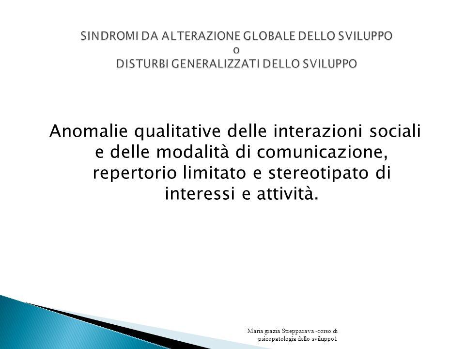 Anomalie qualitative delle interazioni sociali e delle modalità di comunicazione, repertorio limitato e stereotipato di interessi e attività. Maria gr