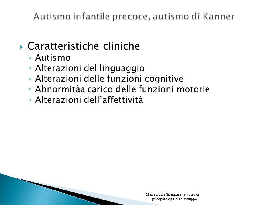 Caratteristiche cliniche Autismo Alterazioni del linguaggio Alterazioni delle funzioni cognitive Abnormitàa carico delle funzioni motorie Alterazioni