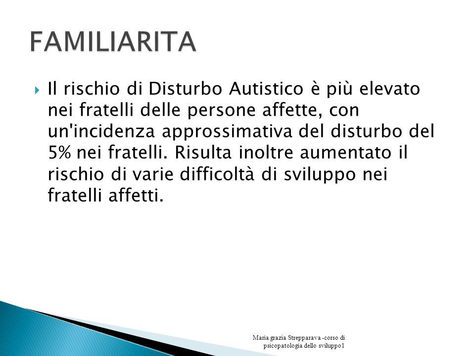Il rischio di Disturbo Autistico è più elevato nei fratelli delle persone affette, con un'incidenza approssimativa del disturbo del 5% nei fratelli. R