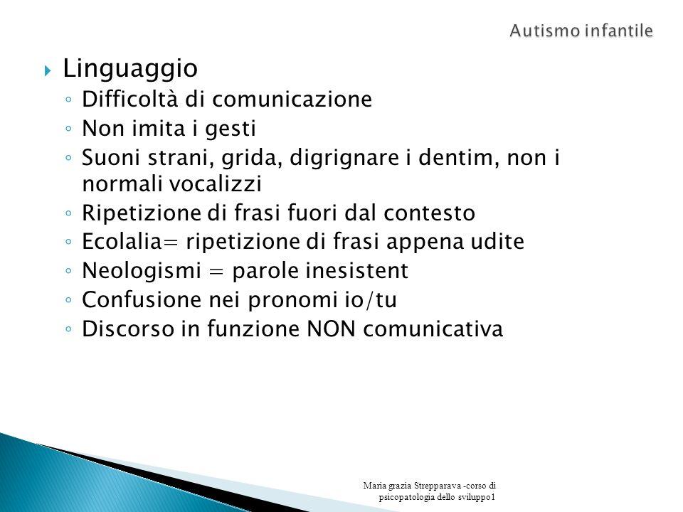 Linguaggio Difficoltà di comunicazione Non imita i gesti Suoni strani, grida, digrignare i dentim, non i normali vocalizzi Ripetizione di frasi fuori