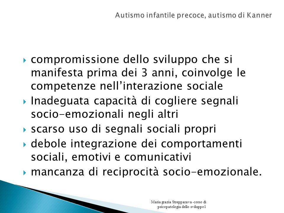 compromissione dello sviluppo che si manifesta prima dei 3 anni, coinvolge le competenze nellinterazione sociale Inadeguata capacità di cogliere segna