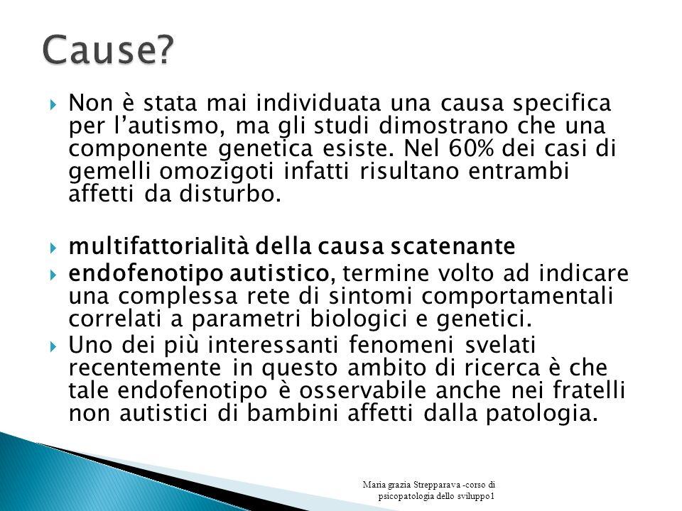 Non è stata mai individuata una causa specifica per lautismo, ma gli studi dimostrano che una componente genetica esiste. Nel 60% dei casi di gemelli