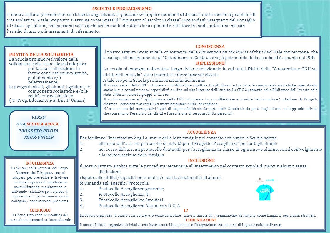 VERSO UNA SCUOLA AMICA... PROGETTO PILOTA MIUR-UNICEF CONOSCENZA Il nostro Istituto promuove la conoscenza della Convention on the Rights of the Child