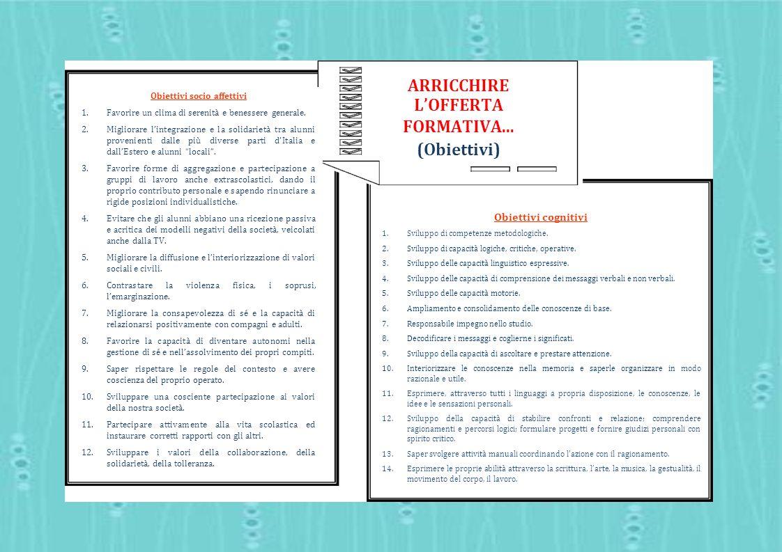 ARRICCHIRE LOFFERTA FORMATIVA... (Obiettivi) Obiettivi cognitivi 1.Sviluppo di competenze metodologiche. 2.Sviluppo di capacità logiche, critiche, ope