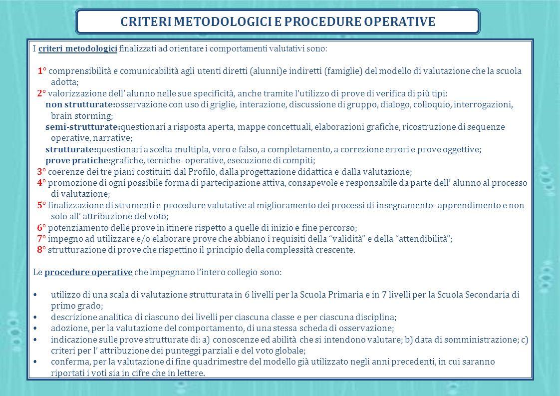 I criteri metodologici finalizzati ad orientare i comportamenti valutativi sono: 1° comprensibilità e comunicabilità agli utenti diretti (alunni)e ind