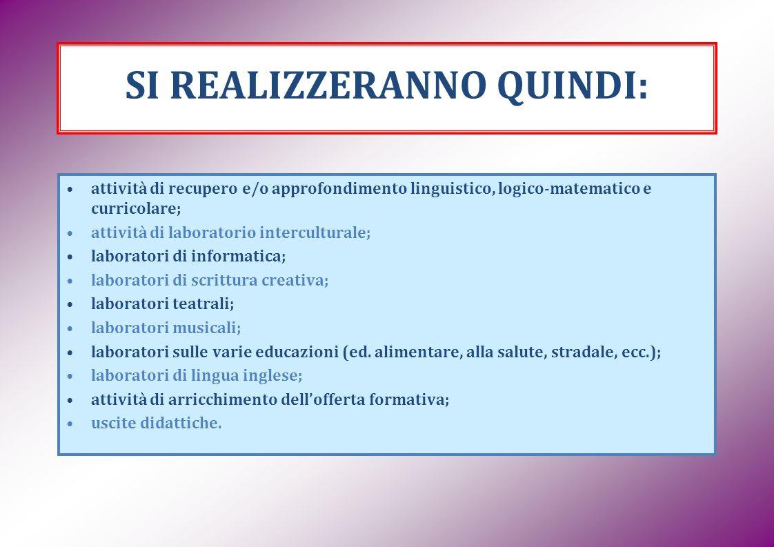 SI REALIZZERANNO QUINDI: attività di recupero e/o approfondimento linguistico, logico-matematico e curricolare; attività di laboratorio interculturale