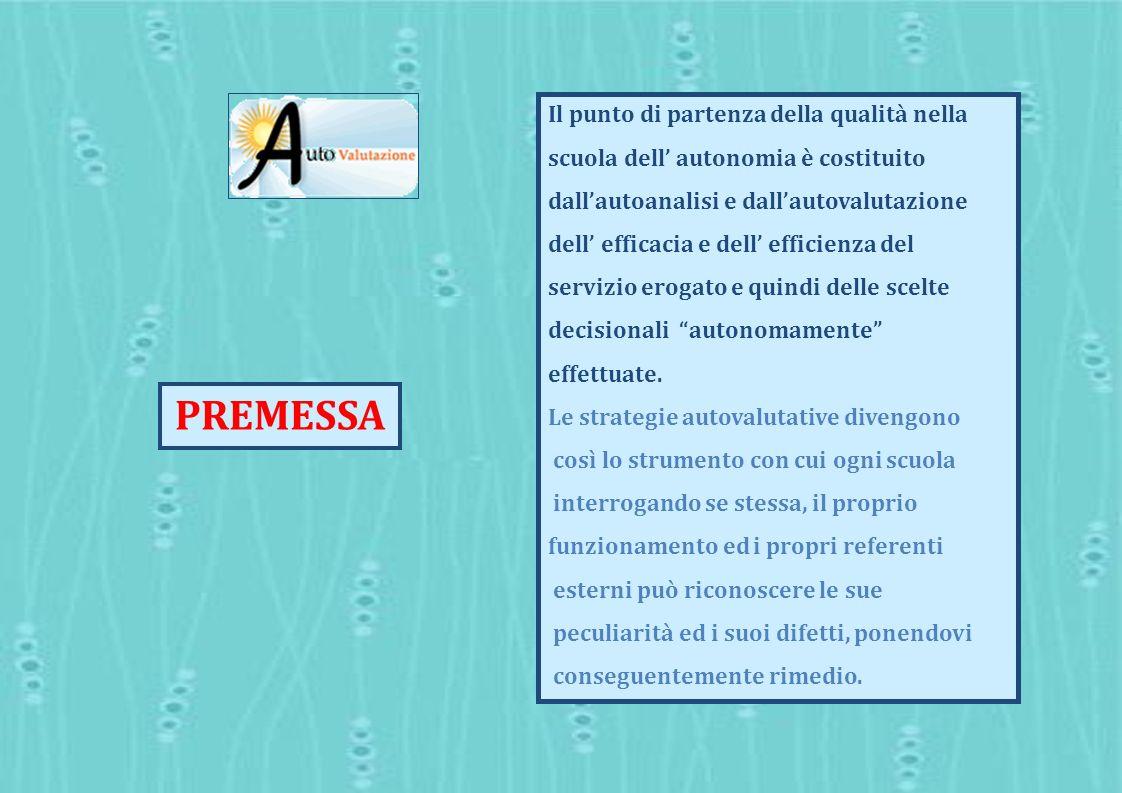 Il punto di partenza della qualità nella scuola dell autonomia è costituito dallautoanalisi e dallautovalutazione dell efficacia e dell efficienza del