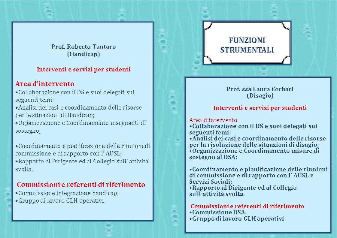 Prof. Roberto Tantaro (Handicap) Interventi e servizi per studenti Area dintervento Collaborazione con il DS e suoi delegati sui seguenti temi: Analis