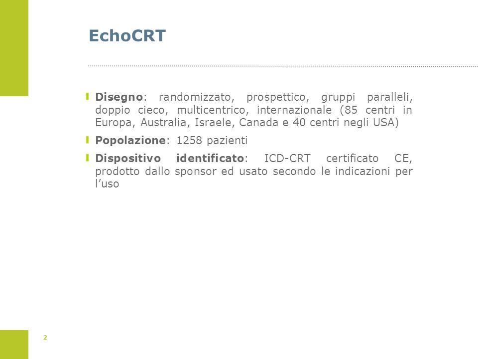 2 EchoCRT Disegno: randomizzato, prospettico, gruppi paralleli, doppio cieco, multicentrico, internazionale (85 centri in Europa, Australia, Israele,