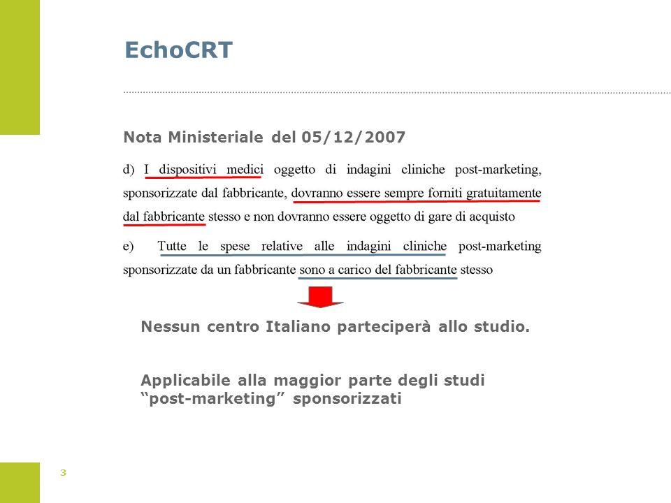 3 EchoCRT Nota Ministeriale del 05/12/2007 Nessun centro Italiano parteciperà allo studio. Applicabile alla maggior parte degli studi post-marketing s