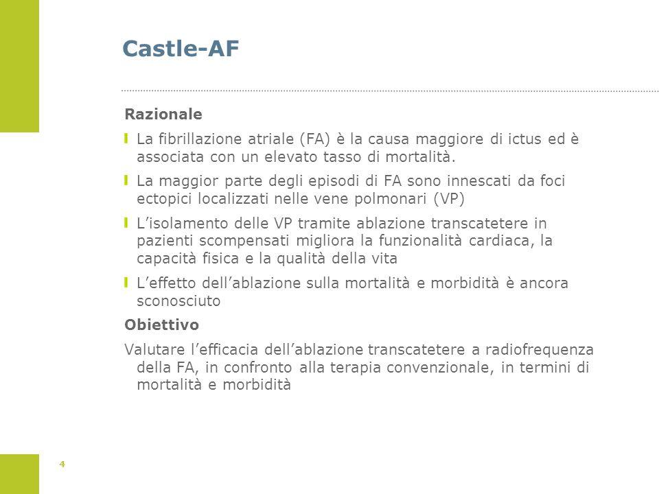 4 Castle-AF Razionale La fibrillazione atriale (FA) è la causa maggiore di ictus ed è associata con un elevato tasso di mortalità. La maggior parte de