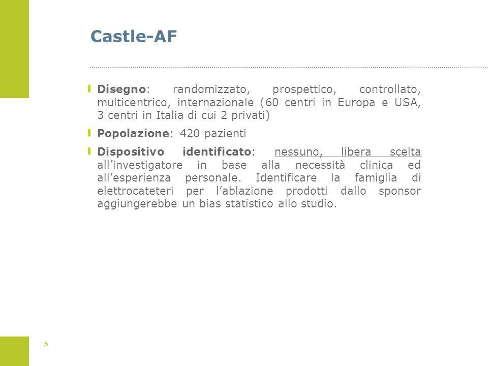 5 Castle-AF Disegno: randomizzato, prospettico, controllato, multicentrico, internazionale (60 centri in Europa e USA, 3 centri in Italia di cui 2 pri