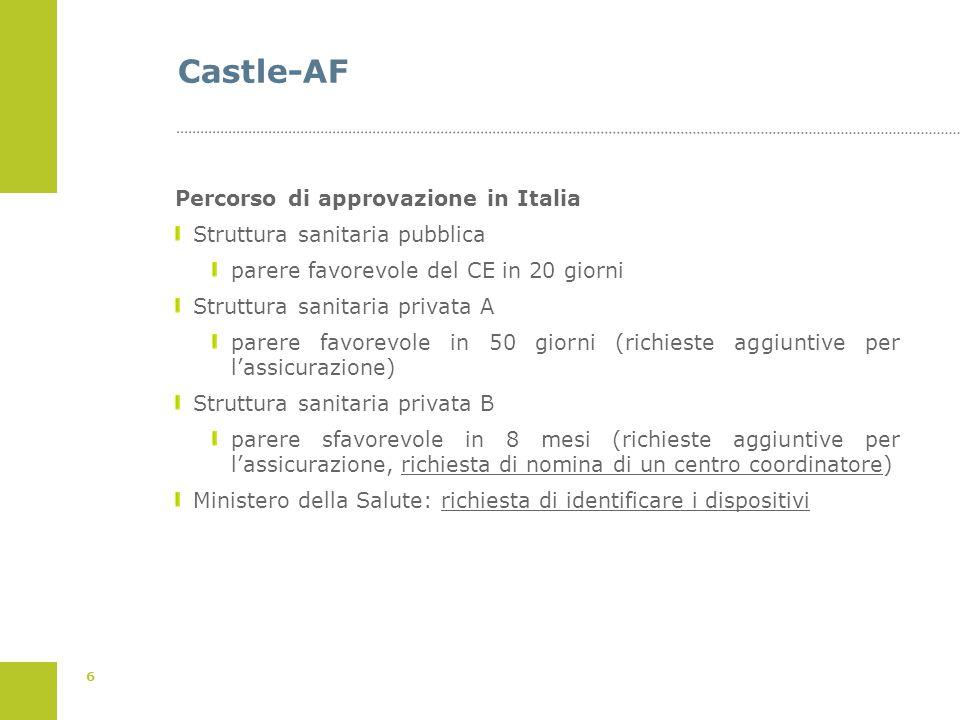 6 Castle-AF Percorso di approvazione in Italia Struttura sanitaria pubblica parere favorevole del CE in 20 giorni Struttura sanitaria privata A parere
