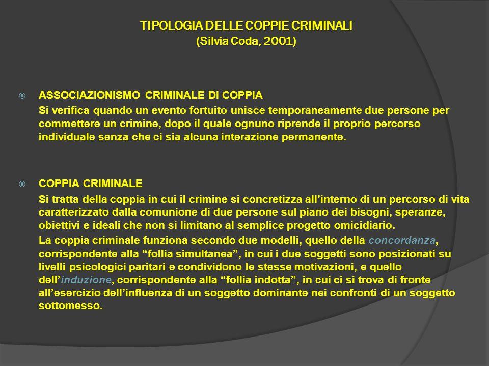 TIPOLOGIA DELLE COPPIE CRIMINALI (Silvia Coda, 2001) ASSOCIAZIONISMO CRIMINALE DI COPPIA Si verifica quando un evento fortuito unisce temporaneamente