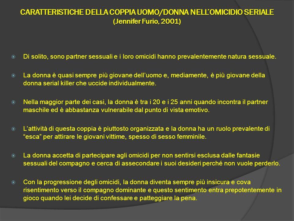 CARATTERISTICHE DELLA COPPIA UOMO/DONNA NELLOMICIDIO SERIALE (Jennifer Furio, 2001) Di solito, sono partner sessuali e i loro omicidi hanno prevalente