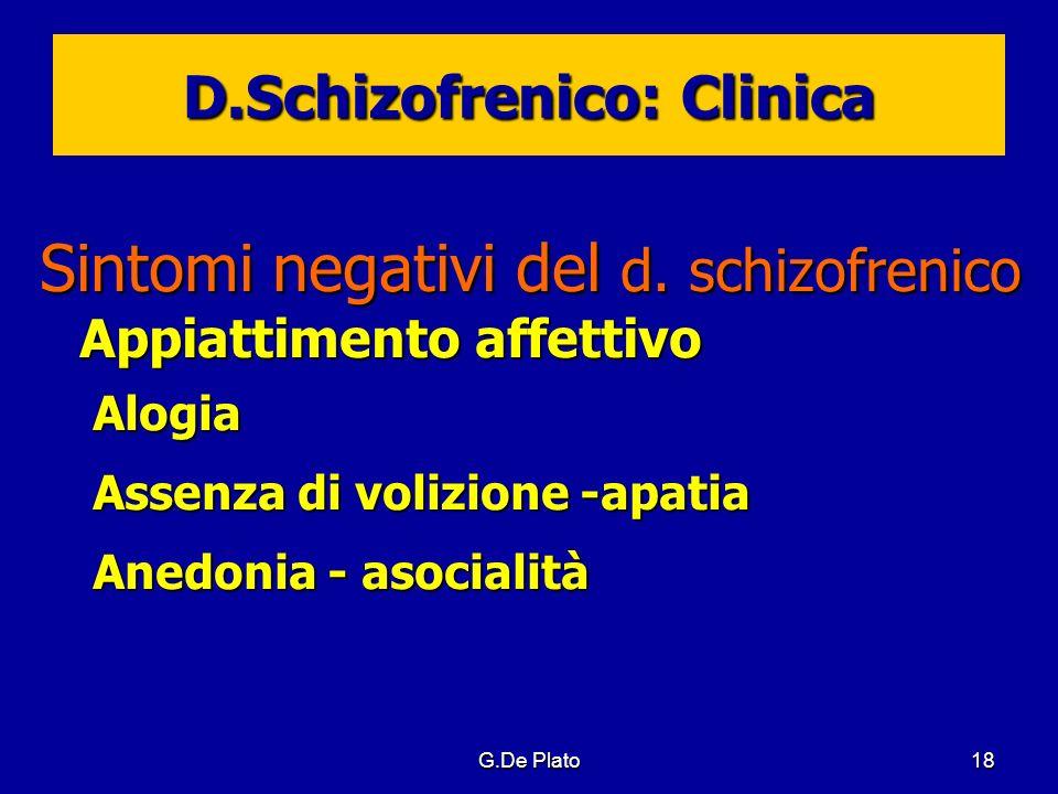 G.De Plato18 D.Schizofrenico: Clinica Sintomi negativi del d. schizofrenico Appiattimento affettivo Alogia Assenza di volizione -apatia Anedonia - aso