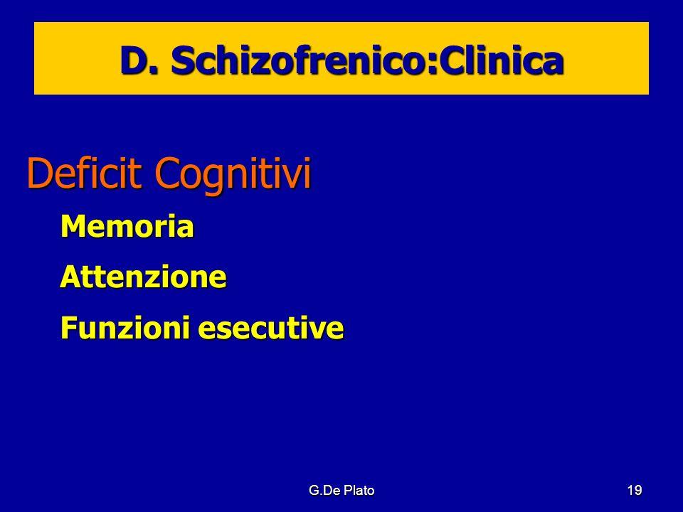 G.De Plato19 D. Schizofrenico:Clinica Deficit Cognitivi MemoriaAttenzione Funzioni esecutive