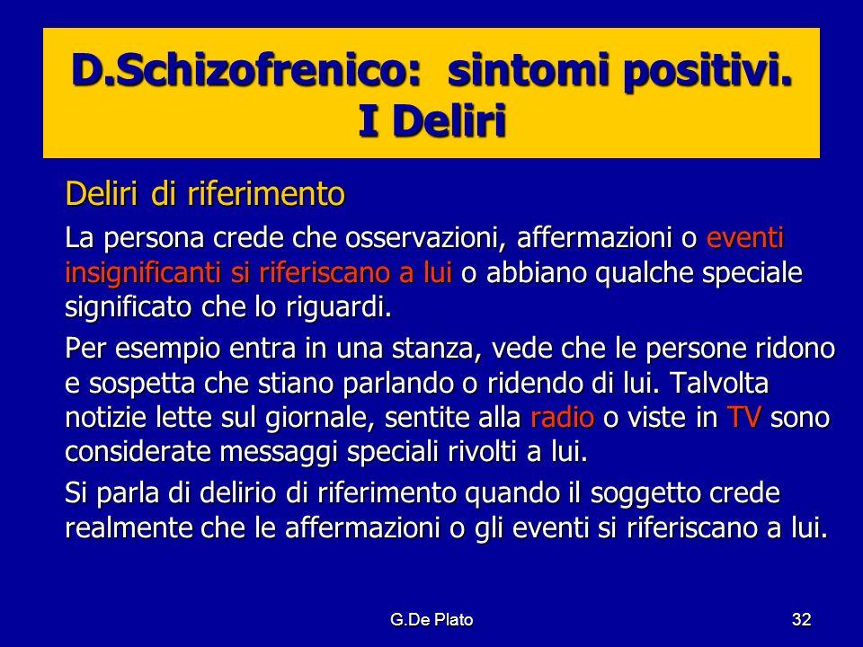 G.De Plato32 D.Schizofrenico: sintomi positivi. I Deliri Deliri di riferimento La persona crede che osservazioni, affermazioni o eventi insignificanti