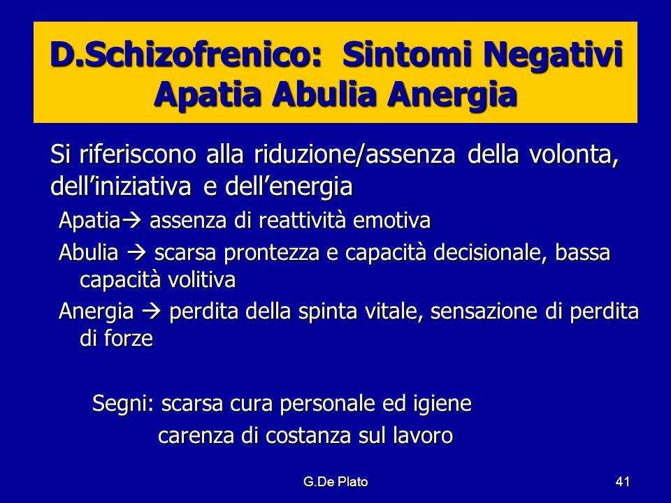 G.De Plato41 D.Schizofrenico: Sintomi Negativi Apatia Abulia Anergia Si riferiscono alla riduzione/assenza della volonta, delliniziativa e dellenergia