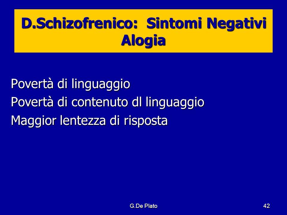G.De Plato42 D.Schizofrenico: Sintomi Negativi Alogia Povertà di linguaggio Povertà di contenuto dl linguaggio Maggior lentezza di risposta
