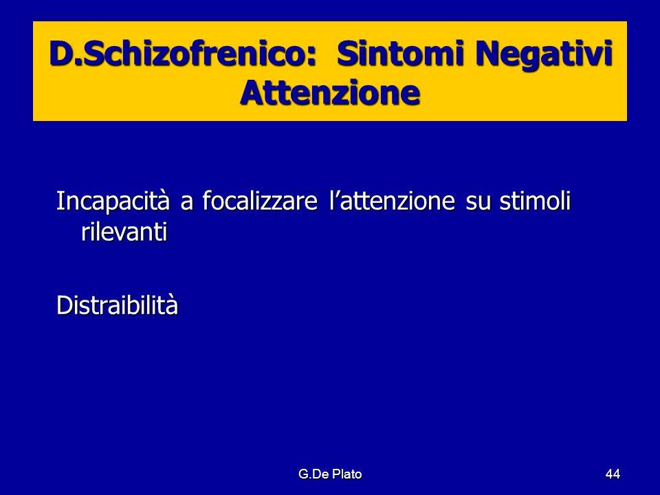 G.De Plato44 D.Schizofrenico: Sintomi Negativi Attenzione Incapacità a focalizzare lattenzione su stimoli rilevanti Distraibilità