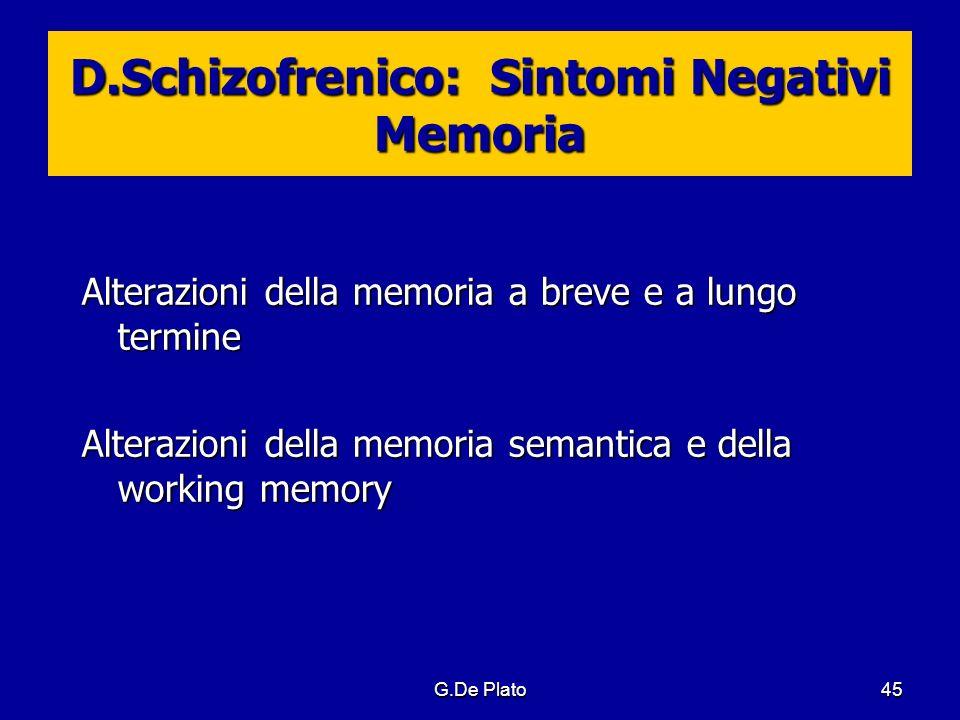 G.De Plato45 D.Schizofrenico: Sintomi Negativi Memoria Alterazioni della memoria a breve e a lungo termine Alterazioni della memoria semantica e della