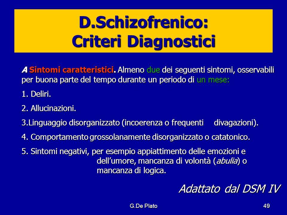 G.De Plato49 D.Schizofrenico: Criteri Diagnostici A Sintomi caratteristici. Almeno due dei seguenti sintomi, osservabili per buona parte del tempo dur