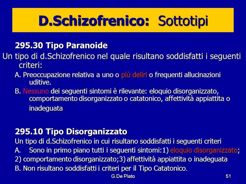 G.De Plato51 D.Schizofrenico: Sottotipi 295.30 Tipo Paranoide Un tipo di d.Schizofrenico nel quale risultano soddisfatti i seguenti criteri: A. Preocc
