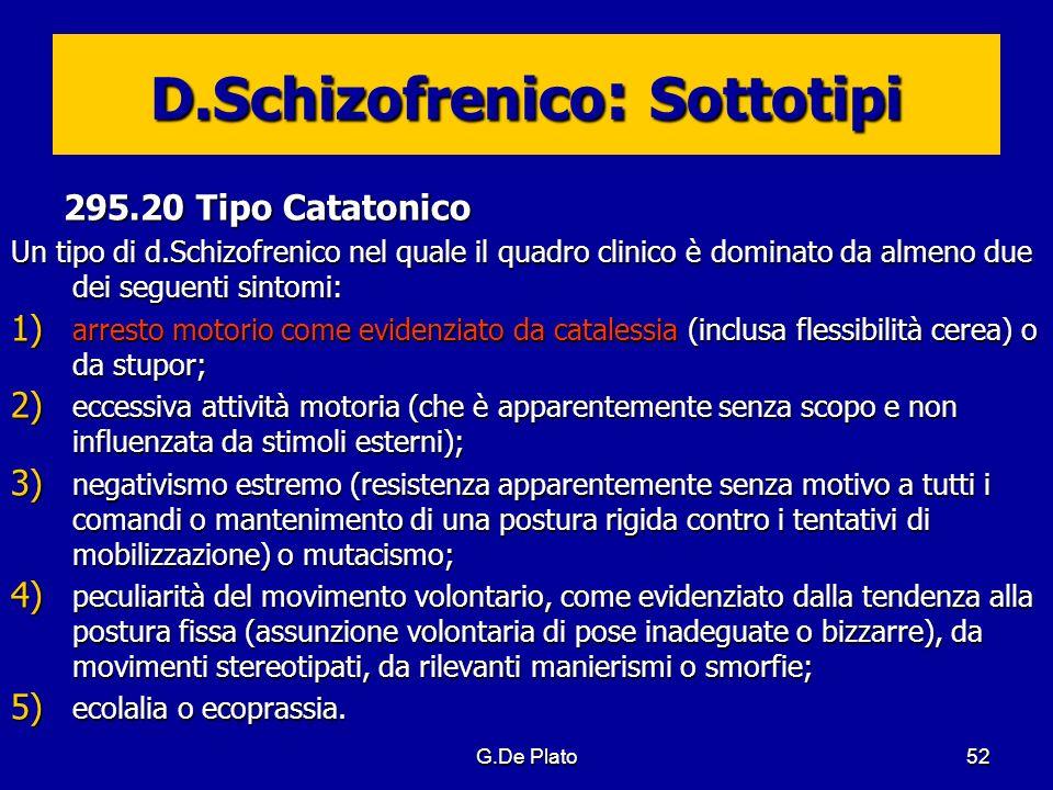 G.De Plato52 D.Schizofrenico : Sottotipi 295.20 Tipo Catatonico Un tipo di d.Schizofrenico nel quale il quadro clinico è dominato da almeno due dei se