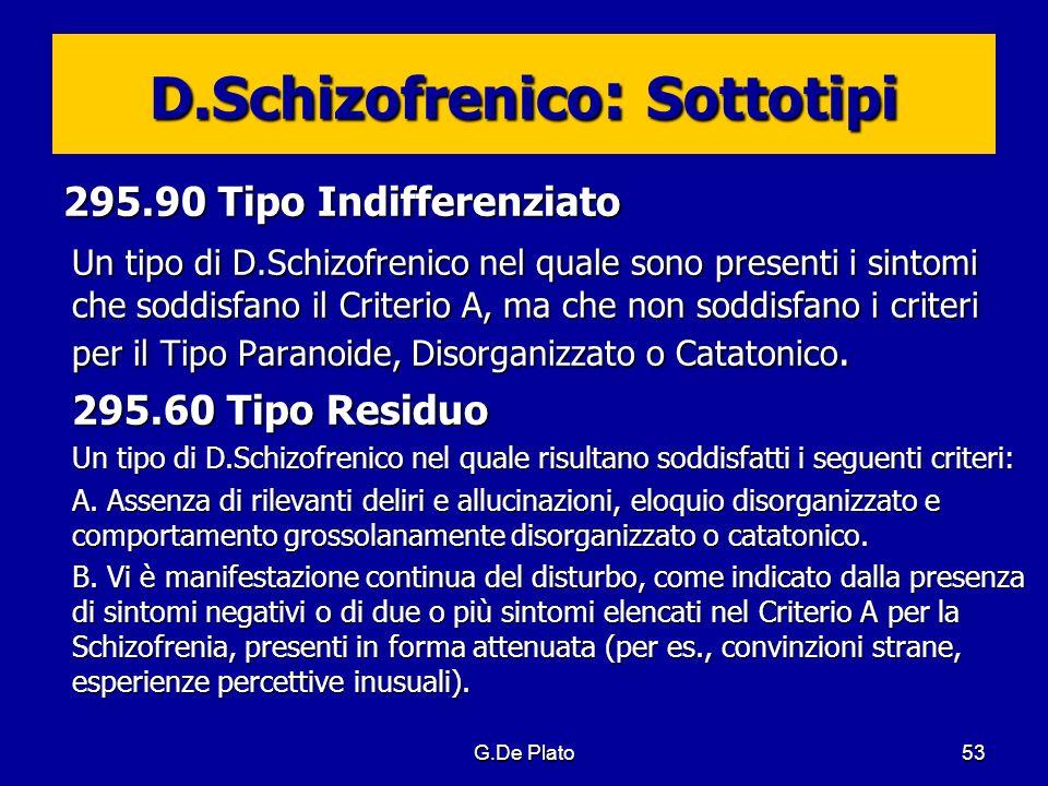 G.De Plato53 D.Schizofrenico : Sottotipi 295.90 Tipo Indifferenziato Un tipo di D.Schizofrenico nel quale sono presenti i sintomi che soddisfano il Cr