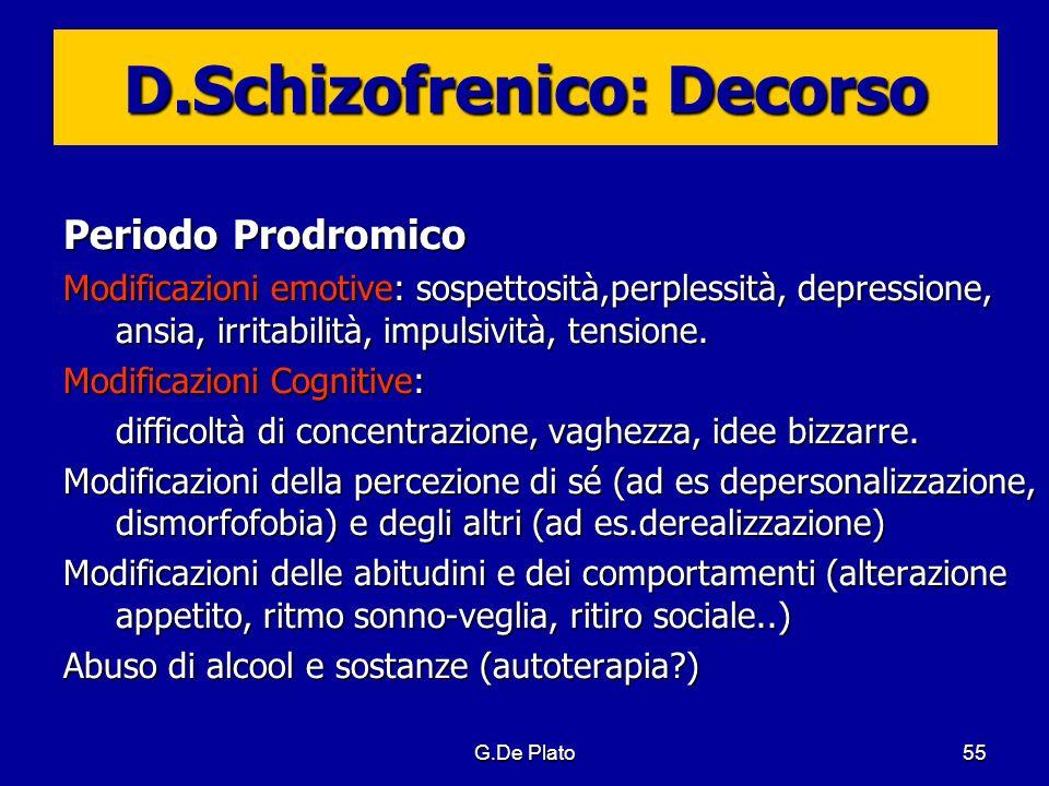 G.De Plato55 D.Schizofrenico: Decorso Periodo Prodromico Modificazioni emotive: sospettosità,perplessità, depressione, ansia, irritabilità, impulsivit